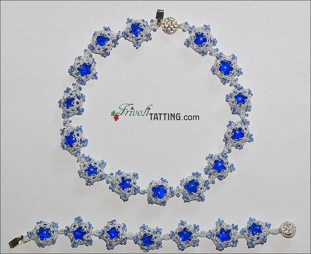 New Year necklace and bracelet made of snowflakes in ANKARS technique; Новогоднее ожерелье из снежинок в технике АНКАРС