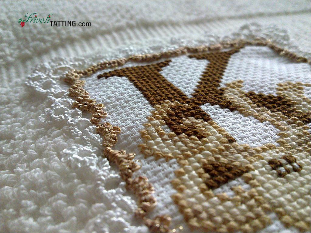 tatted Narrow Edging in ANKARS technique, towel decoration; узкое кружево в технике АНКАРС, украшение полотенца