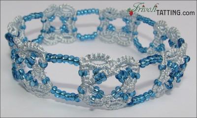 Голубой браслет в технике АНКАРС. Blue blacelet tatted in ANKARS technique
