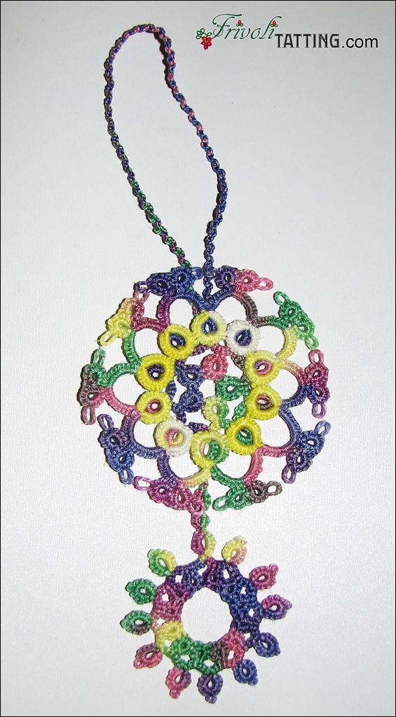 Tatted bookmark with mock onion rings (MOR). Закладка с перевернутым кольцом в кольце (ПКвК)