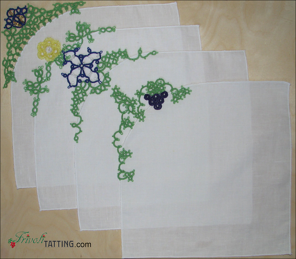 Столовые салфетки с отделкой фриволите. Table napkins with tatted lace